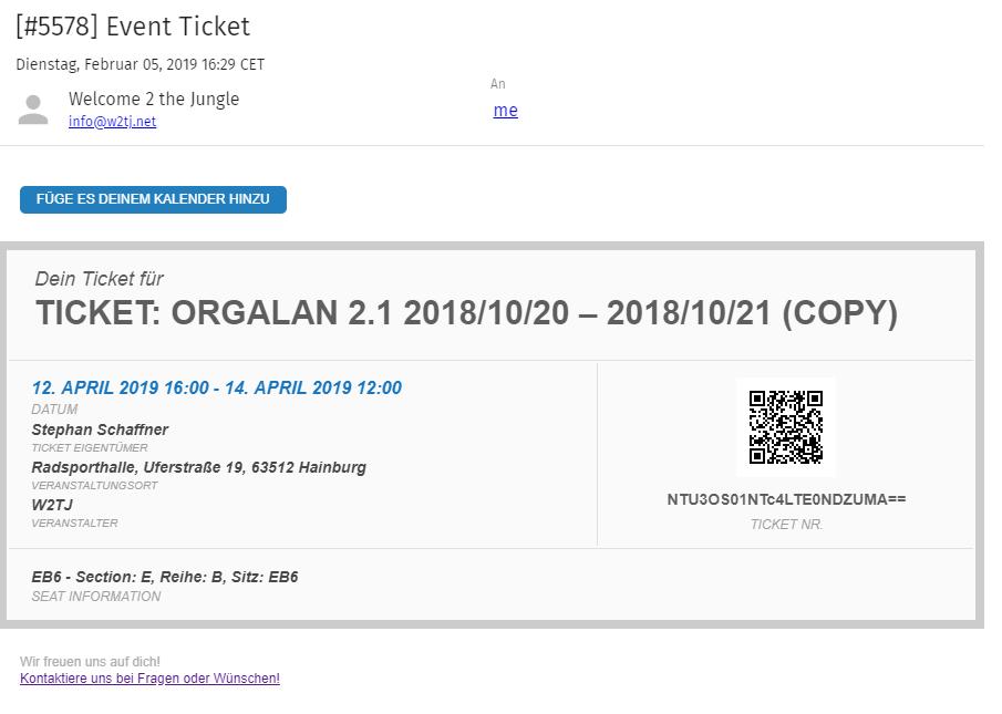 Das Ticket im E-Mailpostfach
